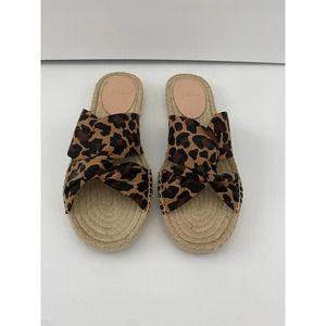 NWT J.Crew Twisted Knot Espadrille Sandals Leopard